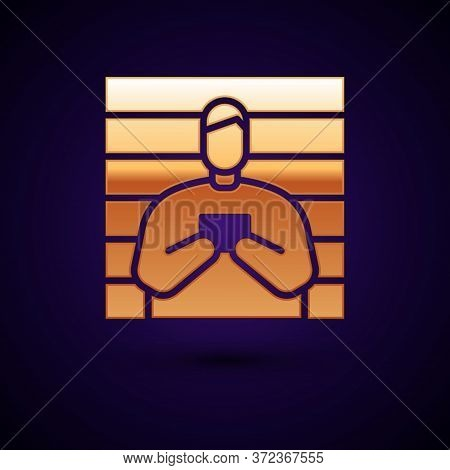 Gold Suspect Criminal Icon Isolated On Black Background. The Criminal In Prison, Suspected Near The