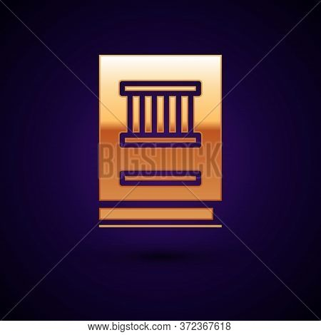 Gold Law Book Icon Isolated On Black Background. Legal Judge Book. Judgment Concept. Vector Illustra