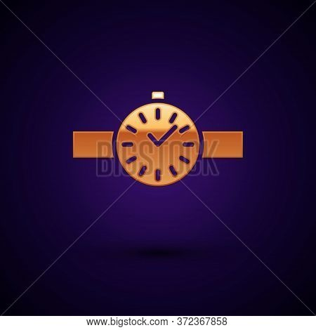 Gold Wrist Watch Icon Isolated On Black Background. Wristwatch Icon. Vector Illustration