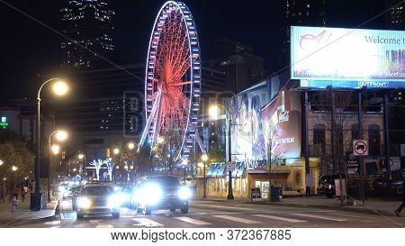 Atlanta Skyview Ferris Wheel At Night - Atlanta, Georgia - April 20, 2016