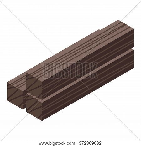 Wood Column Bars Icon. Isometric Of Wood Column Bars Vector Icon For Web Design Isolated On White Ba