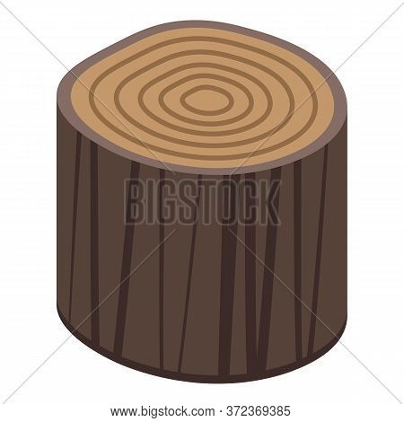Cutted Tree Stump Icon. Isometric Of Cutted Tree Stump Vector Icon For Web Design Isolated On White