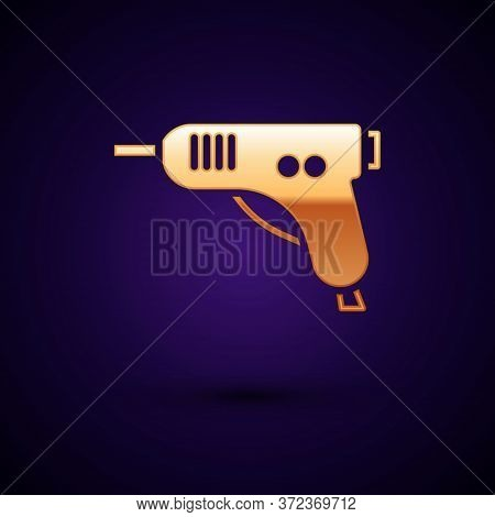 Gold Electric Hot Glue Gun Icon Isolated On Black Background. Hot Pistol Glue. Hot Repair Work Appli