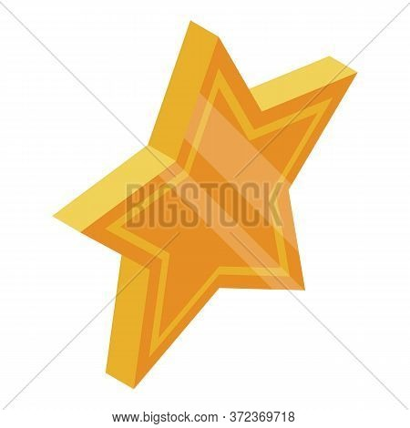 Vip Gold Star Icon. Isometric Of Vip Gold Star Vector Icon For Web Design Isolated On White Backgrou