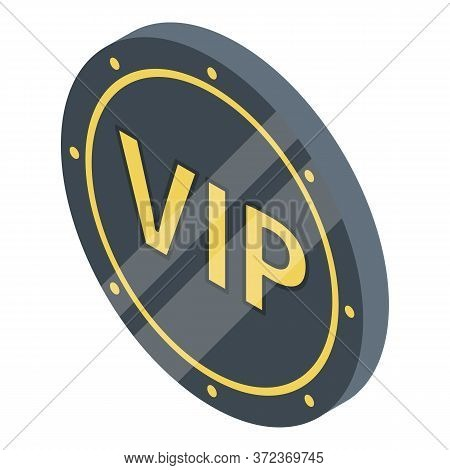 Vip Black Coin Icon. Isometric Of Vip Black Coin Vector Icon For Web Design Isolated On White Backgr
