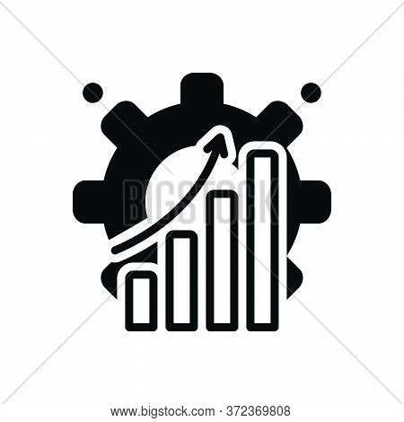 Black Solid Icon For Efficiently Capacity Productivity Achievement Graph