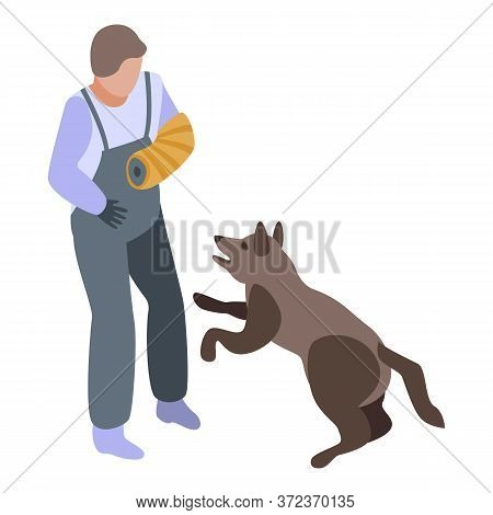 Police Dog Training Icon. Isometric Of Police Dog Training Vector Icon For Web Design Isolated On Wh