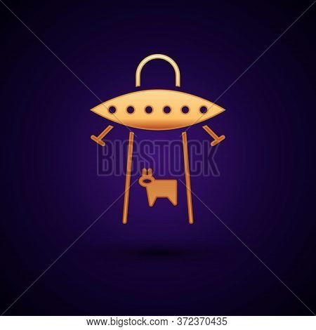 Gold Ufo Abducts Cow Icon Isolated On Black Background. Flying Saucer. Alien Space Ship. Futuristic