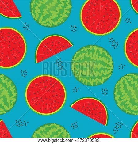 Seamless Pattern Consisting Of A Whole Striped Watermelon, Half A Red Watermelon And A Slice Of Wate
