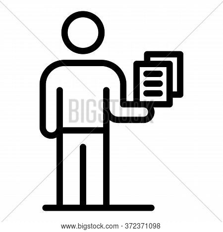 Tax Inspector Papers Icon. Outline Tax Inspector Papers Vector Icon For Web Design Isolated On White