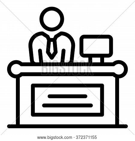 Tax Inspector Workplace Icon. Outline Tax Inspector Workplace Vector Icon For Web Design Isolated On