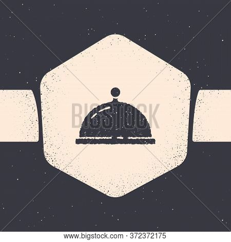 Grunge Covered With A Tray Of Food Icon Isolated On Grey Background. Tray And Lid. Restaurant Cloche