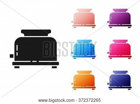 Black Toaster With Toasts Icon Isolated On White Background. Set Icons Colorful. Vector