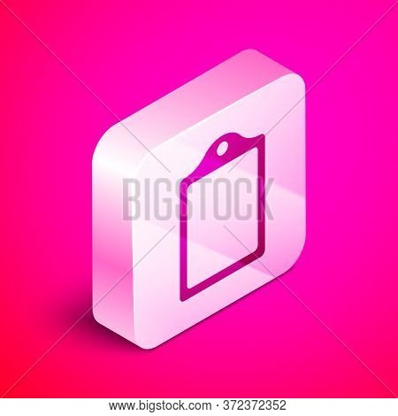 Isometric Cutting Board Icon Isolated On Pink Background. Chopping Board Symbol. Silver Square Butto