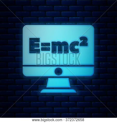 Glowing Neon Math System Of Equation Solution On Computer Monitor Icon Isolated On Brick Wall Backgr