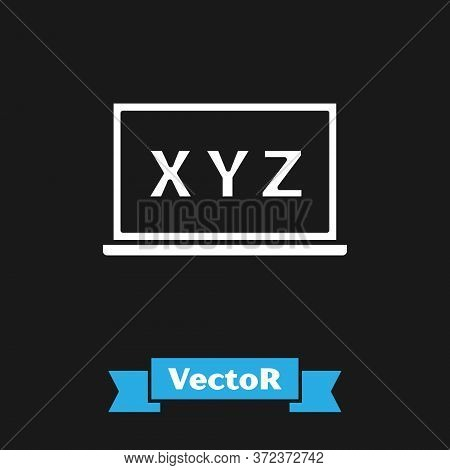 White Xyz Coordinate System On Chalkboard Icon Isolated On Black Background. Xyz Axis For Graph Stat