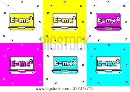 Set Math System Of Equation Solution On Laptop Icon Isolated On Color Background. E Equals Mc Square