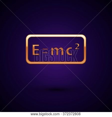 Gold Math System Of Equation Solution Icon Isolated On Black Background. E Equals Mc Squared Equatio