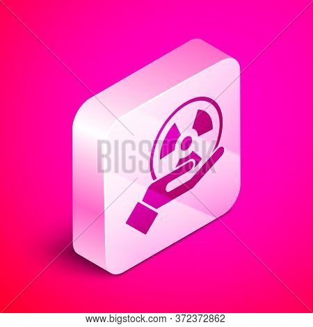 Isometric Radioactive In Hand Icon Isolated On Pink Background. Radioactive Toxic Symbol. Radiation