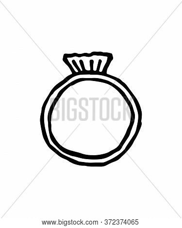 A Ring Is Painted In Doodle Style. Ring Icon, Vector Illustration. Flat Design Style. Vector Ring Ic