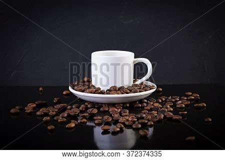Cup Of Coffee Espresso. Hot Drink Coffee On Dark Background