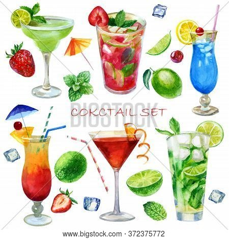 Watercolor Illustration Set. Image Of Glasses With Sex Cocktails On The Beach, Mojito, Margarita, Co