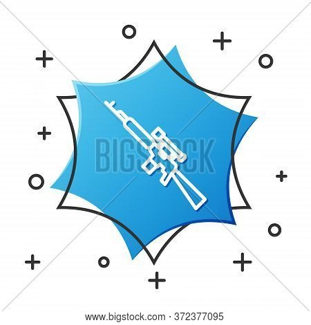 White Line Sniper Rifle With Scope Icon Isolated On White Background. Blue Hexagon Button. Vector Il