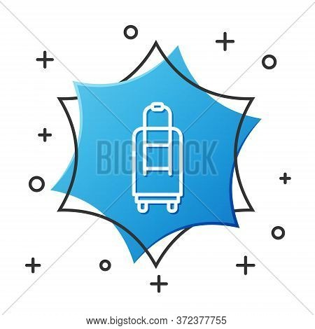 White Line Suitcase For Travel Icon Isolated On White Background. Traveling Baggage Sign. Travel Lug