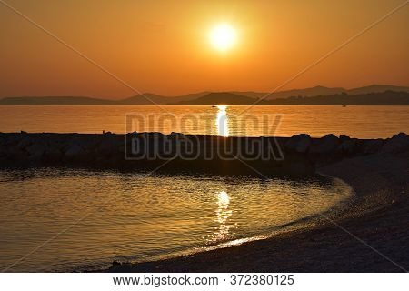 Beautiful Summer Sunset Scenery, Landscape Nature Travel Photography/ Colorful Sunset Over The Sea/