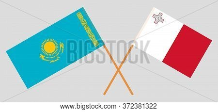 Crossed Flags Of Kazakhstan And Malta. Official Colors. Correct Proportion. Vector Illustration