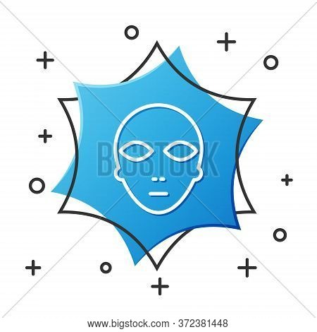 White Line Alien Icon Isolated On White Background. Extraterrestrial Alien Face Or Head Symbol. Blue
