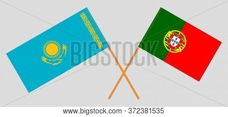 Crossed Flags Of Kazakhstan And Portugal. Official Colors. Correct Proportion. Vector Illustration
