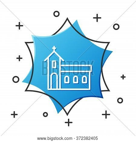 White Line Church Building Icon Isolated On White Background. Christian Church. Religion Of Church.