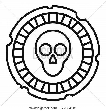 Mexican Skull Coin Icon. Outline Mexican Skull Coin Vector Icon For Web Design Isolated On White Bac