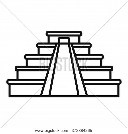 Mexican Pyramide Icon. Outline Mexican Pyramide Vector Icon For Web Design Isolated On White Backgro
