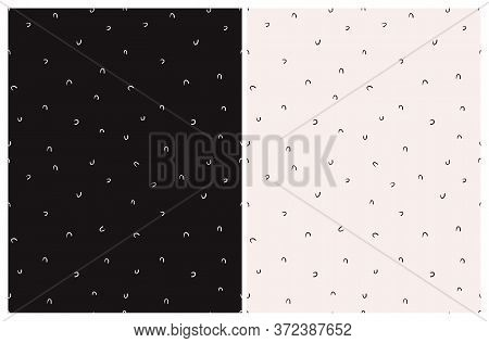 Cute Abstract Geometric Seamless Vector Pattern. Light Cream Hand Drawn Irregular Arcs Isolated On A