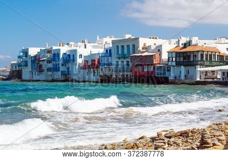 Greece, Mykonos,  The Houses Of  Little Venice Area Of The Chora Old Village Seafront