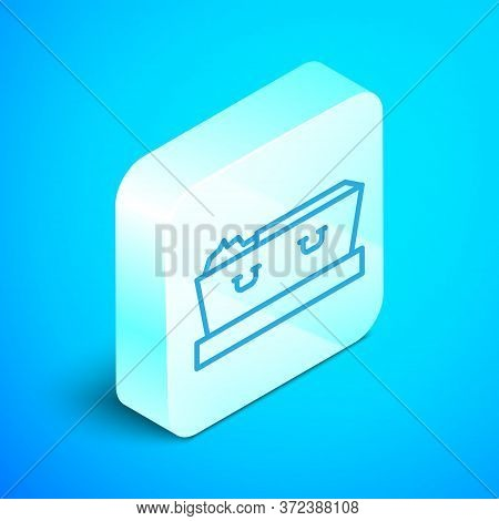Isometric Line Open Coffin With Dead Deceased Body Icon Isolated On Blue Background. Funeral After D