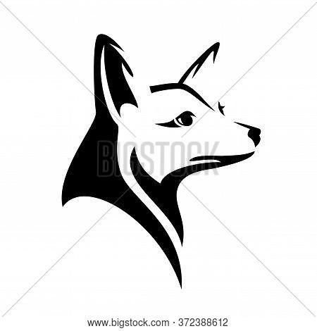 Cute Wild Fox Black And White Vector Outline Head Portrait