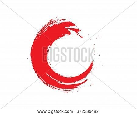 Red Zen Enso Symbol Original Vector Design. Painting Enso Zen Circle Chinese Brush Style Illustratio