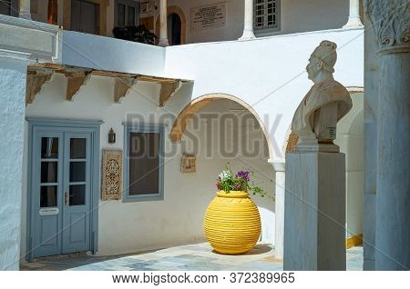 Hydra, Greece -  March 17, 2018:t The Courtyard Of Rhe Monastery Of Santa Maria Assunta
