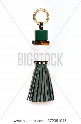 Green Leather Tassel Isolated On White Background For Creating Graphic Concepts