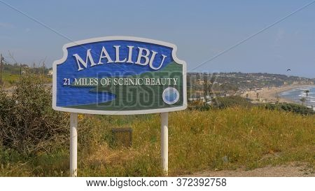 Welcome To Malibu Sign At The Pch - Malibu, United States - March 29, 2019