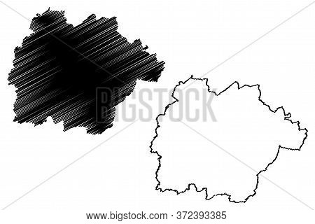 Mersch Canton (grand Duchy Of Luxembourg, Administrative Divisions) Map Vector Illustration, Scribbl