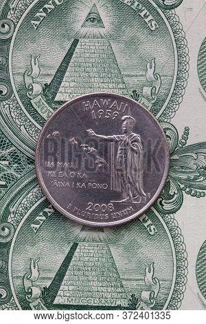 A Quarter Of Hawaii On Us Dollar Bills. Symmetric Composition Of Us Dollar Bills And A Quarter Of Ha