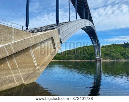 The Zdakov Bridge Is A Steel Arch Bridge That Spans The Vltava River,czech Republic. At The Time Of