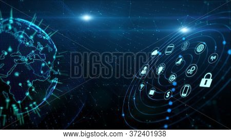 Secure Data Network Digital Data Cyber Security Digital Cyberspace Concept. Earth Element Furnished