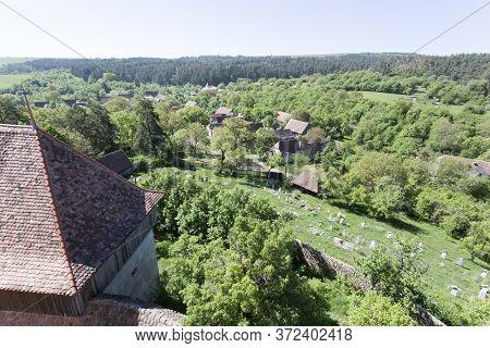 Viscri, Romania - April 29, 2018: Viscri, Fortified Town View In A Spring Day
