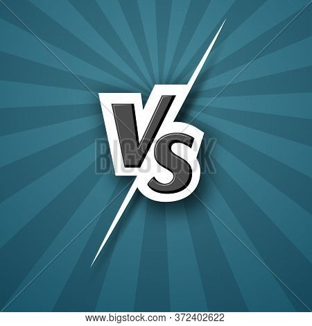 Versus Vs Logo Icon Letter Vs On A Blue Background Of Line Rays Blank Template Background For Team C