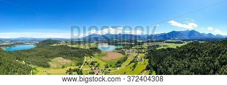Lake Klopeiner See And Turnersee In Carinthia, Austria. Aerial View To The Beautiful Lakes And The M